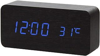 Louise Alarm Clocks - New Voice Control LED larm c, Digital Thermometer Wooden Backlight Wood Retro Glow c Table Luminous ...