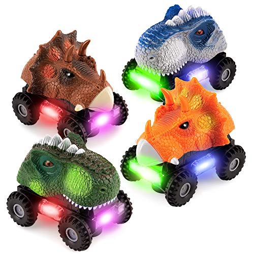 Best Choice Products Set of 4 Kids T-Rex & Triceratops Dinosaur Bump & Go Toy Cars, Dino Animal Vehicles w/Roaring Sounds, LED Lights