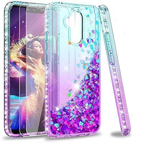 LeYi Custodia Huawei Mate 20 Lite Glitter Cover con Vetro Temperato [2 Pack],Brillantini Diamond Sabbie Mobili Bumper Case Custodie per Huawei Mate 20 Lite Donna ZX Turquoise Purple Gradient