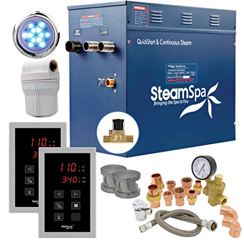 SteamSpa Executive 12 KW QuickStart Acu-Steam Bath Generator Package with Built-in Auto Drain in Brushed Nickel | Steam Generator Kit with Dual Control Panel Steamheads 240V | EXT1200BN-A