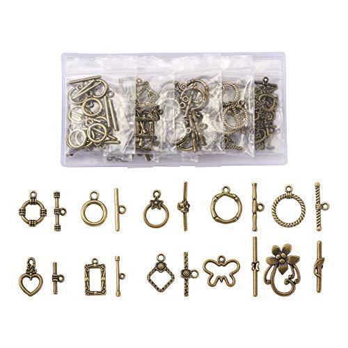 Cheriswelry 100 cierres tibetanos de 10 estilos, cierre de barra en T, cierres IQ TBar Toggle cierres conectores para bricolaje, joyas, pulseras, collares y collares (bronce envejecido)