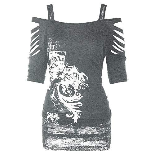 Dorical Damen Gothic Shirt Bauchfrei Oberteil Stickerei Bluse Trägerlos T-Shirt...