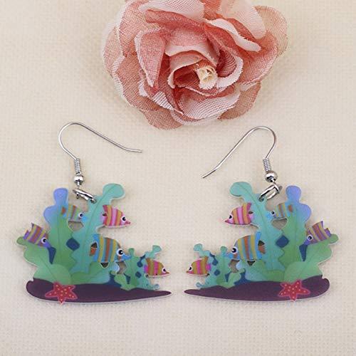 ZHENZHIA Ohrring korallenrote schöne Nette Druckohrringe Acrylentwurfsfrühling/Sommerartmädchenfrauen-Schmuckmode