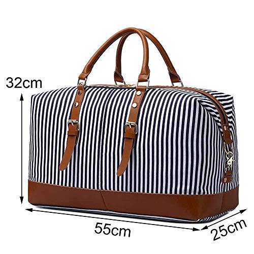 Neuleben Neuleben Reisetasche aus Canvas Leder Groß Weekender Tasche Handgepäck Damen Herren für Reise Urlaub (Streifen)