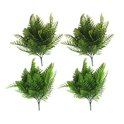 Milisten Boston Farn Künstliche Pflanzen zum Aufhängen, Efeu-Dekoration, Kunststoff, für Innen- und Außenbereich, 4 Stück, Gelb / Grün