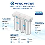 Apec wfs-1000 super capacity premium quality 3 stage under-sink water filter system 13 high quality, designed, engineered and assembled in the usa; system built with us made super capacity filters for long lasting dependable filtration guaranteed to remove chemicals (i. E. Chlorine), taste and odors. Not designed for tds removal premium long-lasting filters used to treat tap water, well water. Provide unlimited refreshing water
