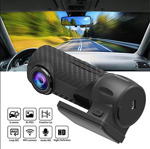Caméra de tableau de bord Mini caméra de voiture 1080P FHD WIFI HD pour enregistreur vidéo de conduite DVR, capteur Sony, objectif 6 éléments, grand angle de vue 170 °, capteur G et vision nocturne