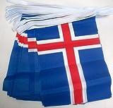 AZ FLAG Guirnalda 6 Metros 20 Banderas de Islandia 21x15cm - Bandera ISLANDESA 15 x 21 cm - BANDERINES
