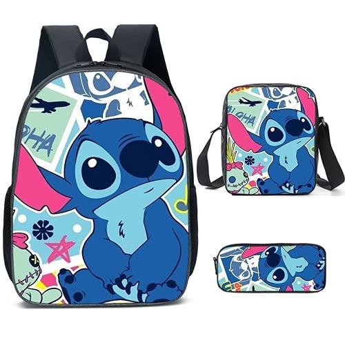 Lilo & Stitch - Mochila escolar para niños, 3 piezas, incluye mochila + bolsa de mensajero + estuche para lápices, S03., Large,