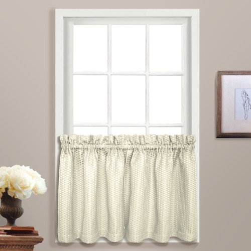 United Curtain Hamden Woven Waffle Kitchen Tiers, 55by 91,4cm, Avorio, Set di 2