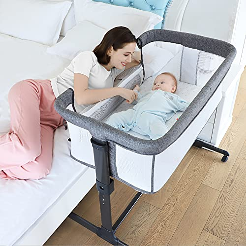 ANRRO Bedside Bassinet Bedside Sleeper, Infant Bedside Crib Baby Sleeping Bed Adjustable Height Breathable Mesh Foldable Infant Bedside Sleeper with Fasten Straps, Wheels and Mosquito Net, Gray