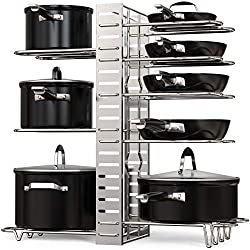 black pots on tiered pot rack