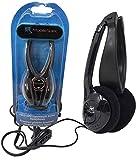 Folding Headphones Black | Lightweight Stereo On-Ear Foldable Earphones w/Volume Control (2 Pack)