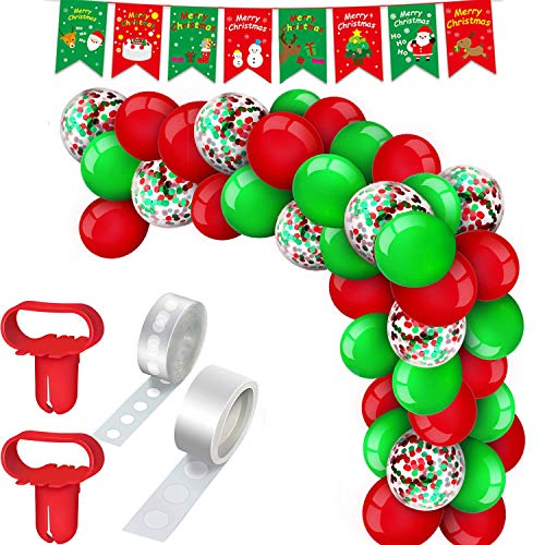 135Pcs Christmas Balloon Garland Arch Kit-Merry Christmas Banner,Santa Claus and Snowman Foil Green Red White Confetti Arch Balloons with Balloon Decorating Strip,for Xmas Holiday Party Decor