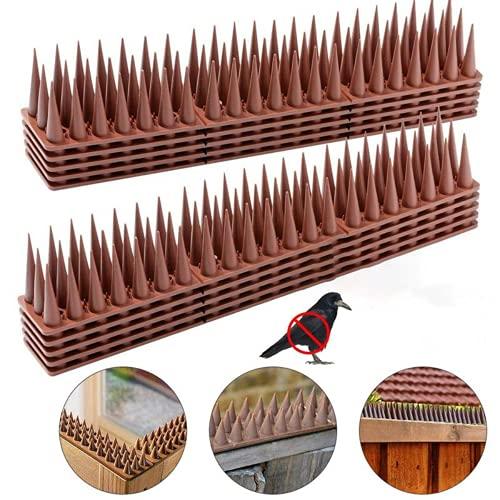 Jooheli Pinchos para Defensa de Pájaros, 20 Piezas Plástico Pinchos para Pájaros, 6M Pinchos Antipalomas Repelente, Ahuyentador de Aves para Palomas Cercas Ventanas Techos (Marrón)