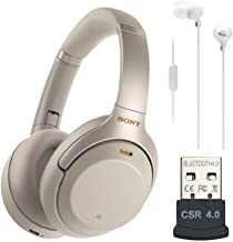 Sony WH-1000XM3 Wireless Noise-Canceling Over-Ear Headphones (Silver, USA Warranty), in-Ear Headphones (White) and USB Blu...