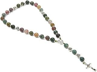 BALIBALI Handmade 8mm Anglican Prayer Beads Rosary Jade Natural Stone Rosary Beads with Pardon Crucifix Cross Custom Rosary