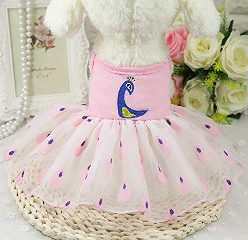 HKHJN Kleurrijke pauw rok vier kleuren optionele organza pet rok hond rok lente en zomer nieuw, S, Peacock Skirt Pink
