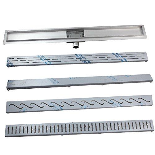 Acero inoxidable–Canaleta para desagüe de ducha Ducha plano desagüe canaleta para 4Patrón