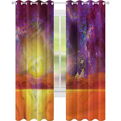 jinguizi Cortinas opacas con aislamiento térmico de Egipto Universo Símbolo Antiguo W42 x L84 para ventana de dormitorio
