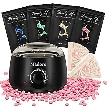 Waxing Kit Wax Warmer for Women - Madors Wax Kit for Hair Removal with Hard Wax Beads Stripless for Legs Face Underarm Bikini Brazilian