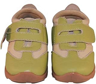 SandQ baby Girls Green Leather Trainers
