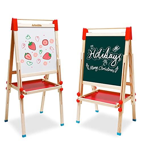 Lavagna per Bambini Cavalletto in Legno a Doppia Faccia con Disegno Rotolo di Carta Giocattoli Educativi,Cavalletto per Bambini con Supporto Regolabil