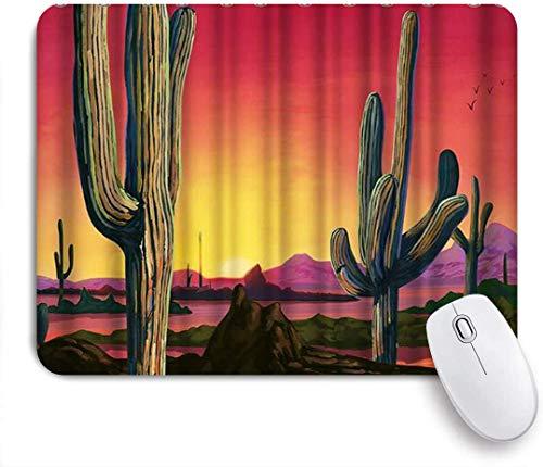 Gaming Mouse Pad rutschfeste Gummibasis, Saguaro Cactus Western Desert Sonnenuntergang Landschaft Kakteen, für Computer Laptop Office Desk
