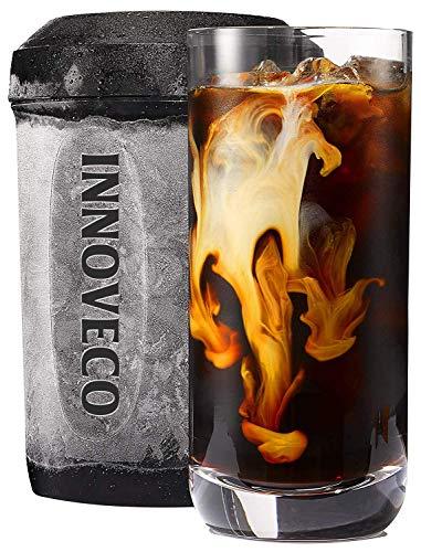 Cafetière glacée /Refroidisseur breveté pour café ou boisson prêts en une minute, réutilisable, pour thé glacé, vin, liqueurs, alcool, jus, 12,5oz (370ml), noir
