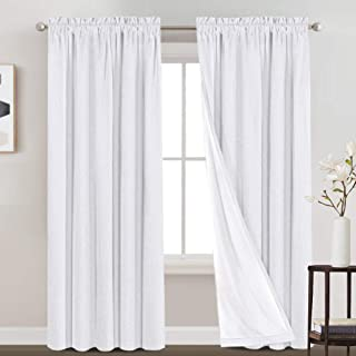 Linen Textured 100% Blackout Curtains for Bedroom Waterproof Room Darkening Window Drapes for Living Room Rod Pocket Drape...
