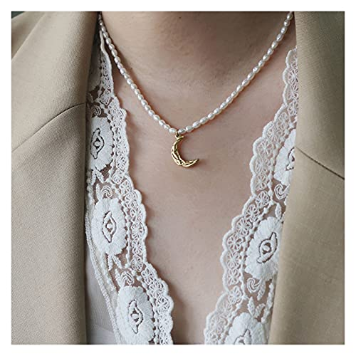ZCPCS 2021 Acero Inoxidable 3mm Natural Pearls Freshwater Pearls Hammered Moon Chokers Chokers Collares Dainty Ins Cuello Collar (Size : One Size)