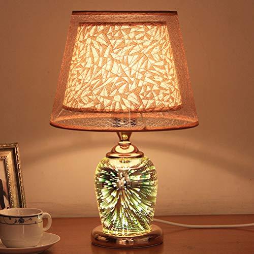 Uonlytech Modern Table Lamps,3D Fireworks Desk Light, Bedside Table Lamp for Living Room Bedroom (Golden)