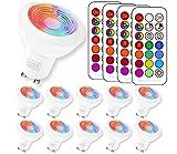 (10 Pack) RGBW Ampoule LED, Sunpion 3W RGB Spot Lumiere LED Couleurs Changement LED...