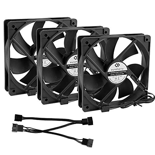 euroharry 4PIN PWM 120mm ventilador de caja PC, ventilador de caja de PC, ventilador de caja Ventilador de caja Ventilador silencioso negro (3)