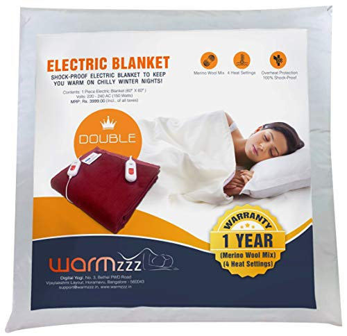 Warmzzz Wool Electric Blanket for Double Bed. Shock-Proof Bed Warmer with 4 Heat Settings - Red
