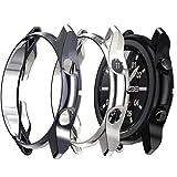 Jvchengxi Kompatibel mit Samsung Galaxy Watch 3 Schutzhülle 45mm, (3-Stück) Flexibles TPU R&um Schutz Rahmen Hülle Kratzfest Bumper Gehaüse für Samsung Galaxy Watch 3 (Schwarz/Grau/Silber)