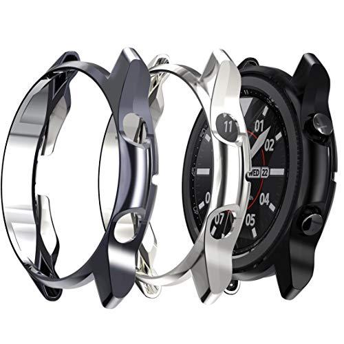 Jvchengxi (3 Piezas Funda Compatible con Samsung Galaxy Watch 3 41mm, Cubierta Protectora de Marco Suave TPU Caso Anti-Rasguños Proteger Cáscara para Samsung Galaxy Watch 3 (Negro/Gris/Plata)