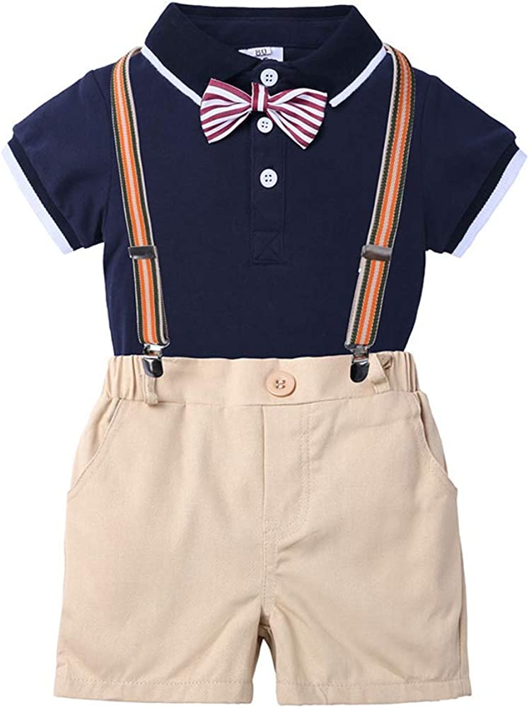 OBEEII Max 81% OFF Baby Toddler Boy Max 77% OFF Gentleman Onesies Summer Romper For Suit