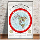 Poster And Prints 1892 Flat Earth Map Movie World Map Modern Painting Art Wall Pictures For Living Room Home Collection Decor -60x80cm No Frame
