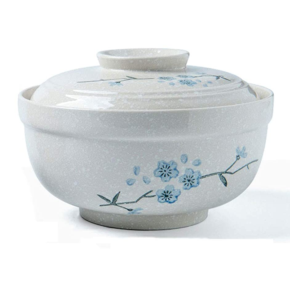 EXQUISITE Salad Bowl Large Ceramic Soup Noodle Pasta Bowl With Lid Retro Fruit Salad Rice Steamed Egg Stewed Cubilose Cup Mixing Serving Bowl Tureen Oven Microwave Safe white (Size : 7.5 inches) Bowls