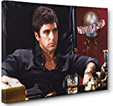 Wall Decor Pop Street Art on Canvas Painting Wall Art - Al Pacino Scarface The World Is Yours Movie Poster Picture Print Modern Home Decor (12x18inch(Unframed))