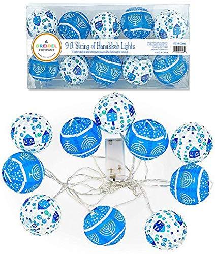 The Dreidel Company 10 Hanukkah LED Battery Powered 3' Mini Round Lantern String Lights… (2-Pack)