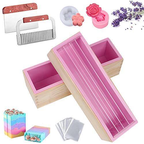 Rain Queen Seifenform, Silikon, rechteckig, Holzbox, Seifenschale, Trennwand, Kunststoff, Handarbeit, Seife, Basteln, 10 Stück