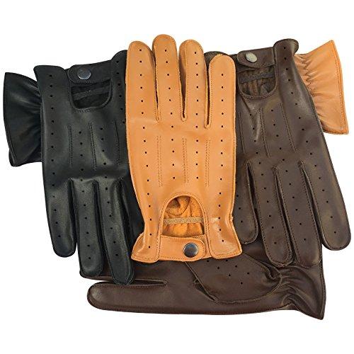 Prime Leather QUALITÉ SUPÉRIEURE VÉRITABLE Cuir Doux Hommes Gants DE Conduite Noir Brun Bronzage Jaune 7011 - Noir, Medium
