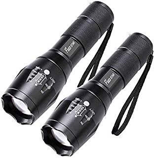 2 Pack Single Mode Led Flashlights, Super Bright 1000 Lumen Zoomable Water Resistant Flashlight, Adjustable Focus Tactical Torch for Camping