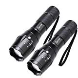 2 Pack One Mode Led Flashlights, Super Bright 1000 Lumen Zoomable Water Resistant Flashlight, Adjustable Focus Tactical Torch for Camping