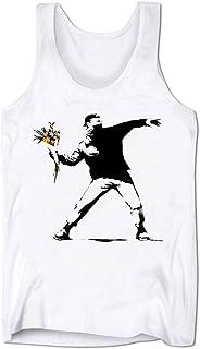 Bang Tidy Clothing Men's Banksy Graphic Tank Top Flower Thrower Sleeveless Tee Shirt
