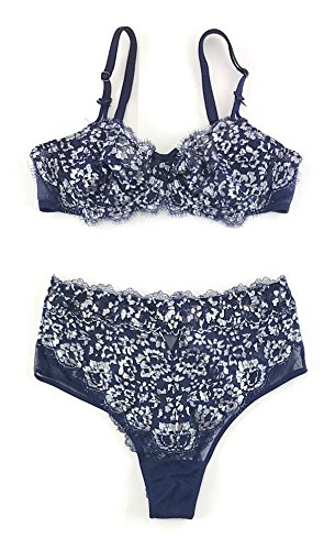 Victoria's Secret Dream Angels Bra and High Waist Cheeky Panty Set 34DD Medium Navy Silver