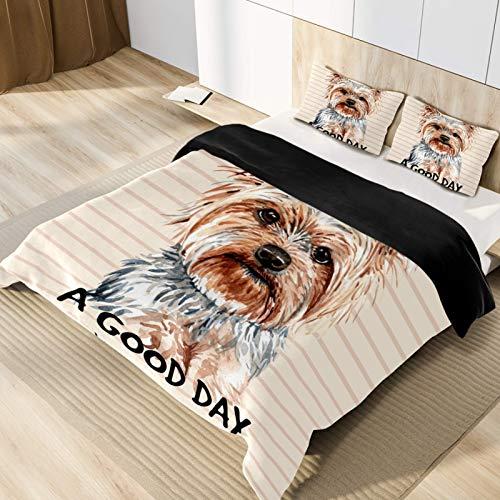 copripiumino matrimoniale yorkshire CHINFY - Set copripiumino per letto matrimoniale Yorkshire Terrier