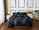 Argstar 3 Pcs Black Marble Duvet Cover Queen Size, Dark Abstract...